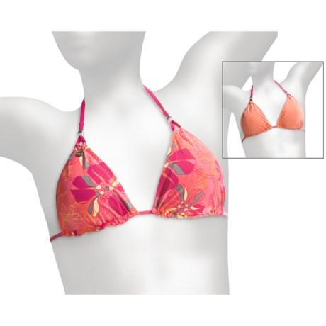 Lole Tropic Triangle Bikini Top - Reversible, UPF 50+ (For Women) in Bubble Gum Peony