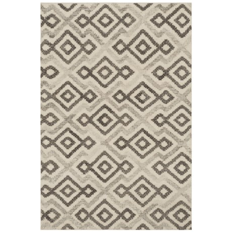 "Loloi Akina Collection Ivory and Grey Area Rug - 5'x7'6"", Wool in Ivory/Grey"