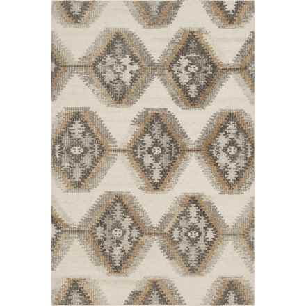 "Loloi Akina Flat-Weave Handwoven Wool Area Rug - 5'x7'6"" in Ivory/Camel - Closeouts"