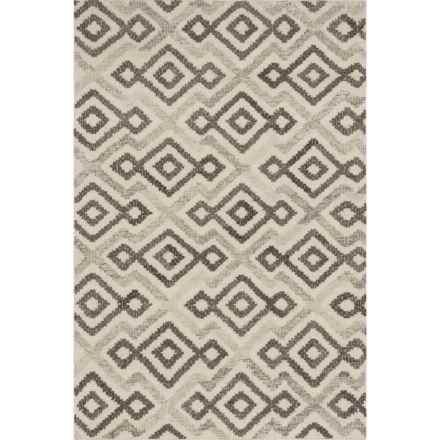 "Loloi Akina Flat-Weave Handwoven Wool Area Rug - 5'x7'6"" in Ivory/Grey - Closeouts"