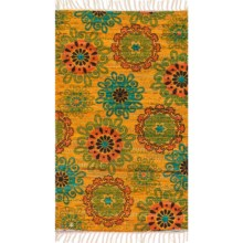 "Loloi Aria Flat-Weave Cotton Accent Rug - 2'3""x3'9"" in Yellow/Orange - Closeouts"