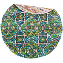 Loloi Aria Flat-Weave Cotton Accent Rug - 3' Round in Blue/Lime - Closeouts