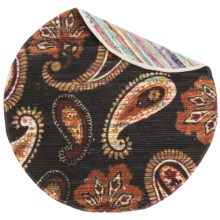 Loloi Aria Flat-Weave Cotton Accent Rug - 3' Round in Chocolate/Rust - Closeouts