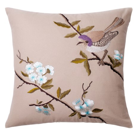 "Loloi Bird-and-Tree Decor Pillow - 18x18"" in Beige / ;Lavender"