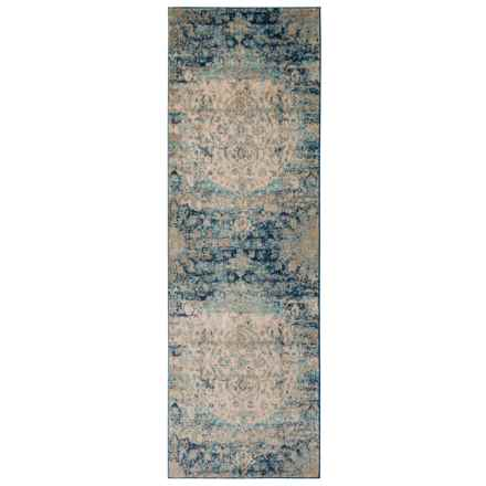 "Loloi Blue-Ivory Anastasia Medallion Floor Runner - 2'7""x8' in Blue / Ivory - Closeouts"