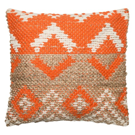 "Loloi Chenille Diamond Decor Pillow - 22x22"" in Orange / Beige"