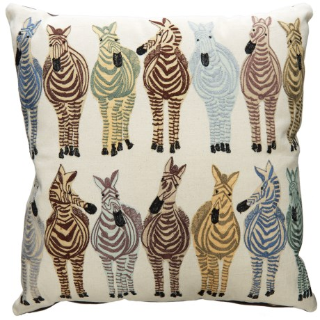"Loloi Cotton Multi-Zebra Decor Pillow - 18x18"" in Blue Multi"