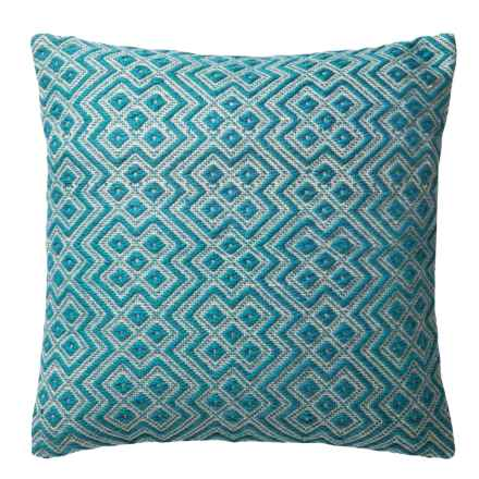 """Loloi Deco Indoor/Outdoor Decor Pillow - 22"""" in Teal/White - Closeouts"""