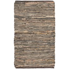 """Loloi Edge Flat-Weave Leather and Jute Accent Rug - 2'3""""x3'9"""" in Brown - Closeouts"""