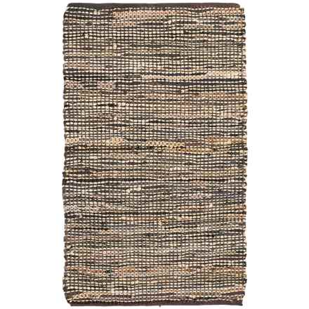 "Loloi Edge Flat-Weave Leather and Jute Accent Rug - 2'3""x3'9"" in Brown - Closeouts"