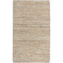 """Loloi Edge Flat-Weave Leather and Jute Accent Rug - 2'3""""x3'9"""" in Ivory - Closeouts"""