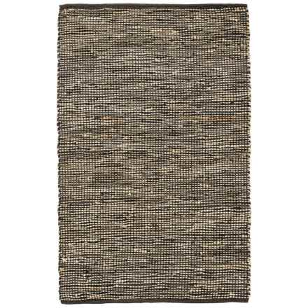 """Loloi Edge Flat-Weave Leather and Jute Area Rug - 3'6""""x5'6"""" in Brown - Closeouts"""