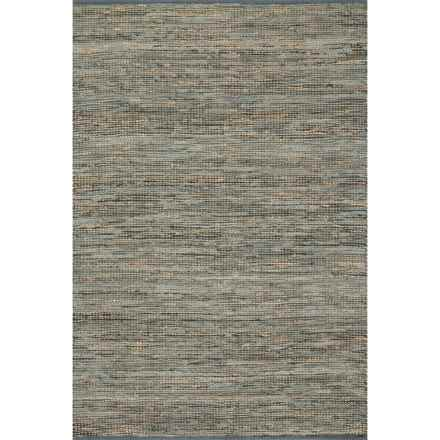 "Loloi Edge Flat-Weave Leather and Jute Area Rug - 3'6""x5'6"" in Grey - Closeouts"