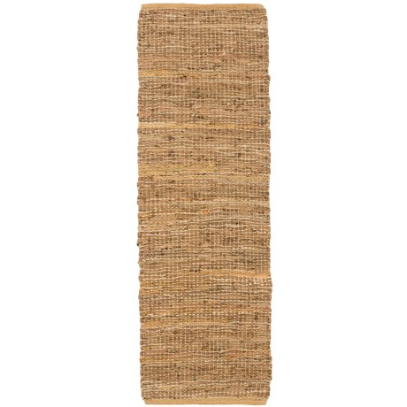 Loloi Edge Flat Weave Leather and Jute Floor Runner 18x5