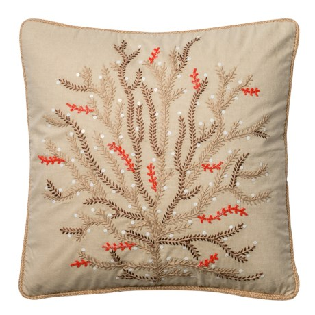"Loloi Embroidered Branch Decor Pillow - 22x22"" in Beige / Coral"