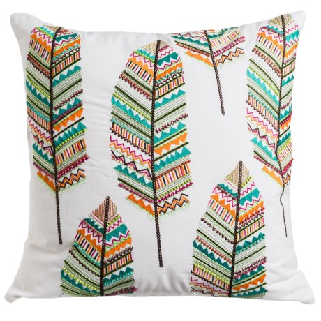 "Loloi Embroidered Feather Decor Pillow - 22x22"" in Multi"