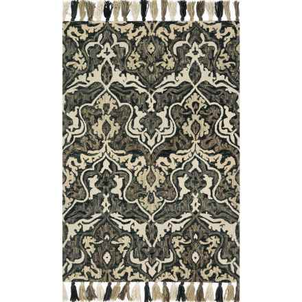 "Loloi Farrah Accent Rug - 2'3""x3'9"", Hooked Wool in Charcoal/Grey - Closeouts"