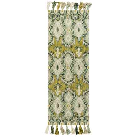 "Loloi Farrah Floor Runner - 2'6""x7'6"", Hooked Wool in Aqua/Lime - Closeouts"