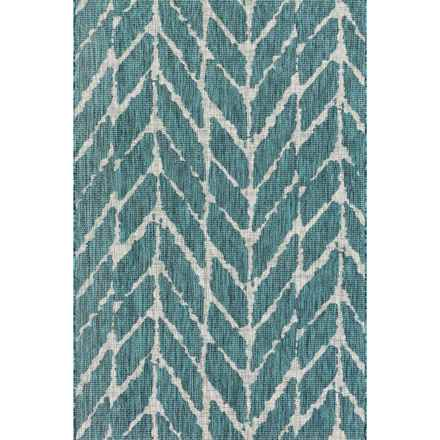 """Loloi Isle Indoor-Outdoor Accent Rug - 2'2""""x3'9"""" in Teal/Grey - Closeouts"""