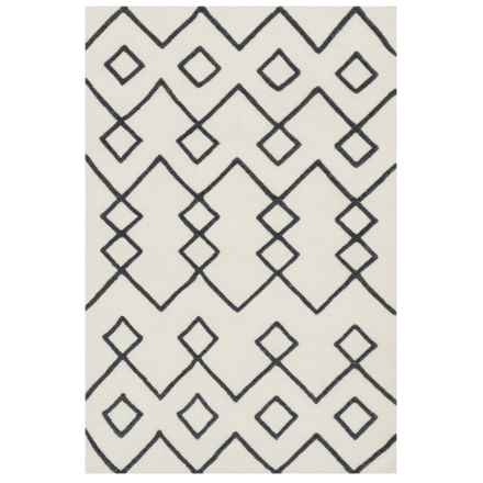 """Loloi Ivory Flat-Weave Textured Area Rug - 5'x7'6"""", Wool in Ivory - Closeouts"""