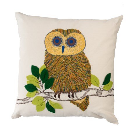"""Loloi Ivory Owl Decor Pillow - 18x18"""" in Ivory Multi"""