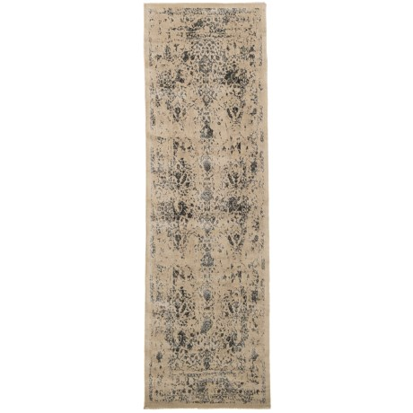 Loloi Journey Collection Antique Ivory and Slate Floor Runner - 2?4?x7?9? Wool-Viscose