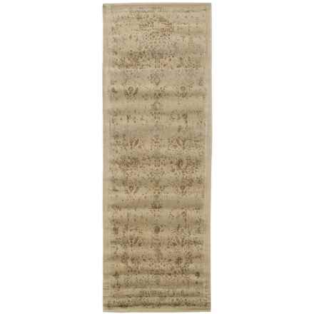 """Loloi Journey Collection Ivory and Mocha Floor Runner - 2'4""""x7'9"""", Wool-Viscose in Antique Ivory/Mocha - Closeouts"""
