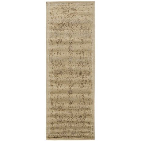 """Loloi Journey Collection Ivory and Mocha Floor Runner - 2'4""""x7'9"""", Wool-Viscose in Antique Ivory/Mocha"""