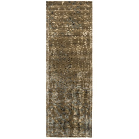 "Loloi Journey Collection Stone and Blue Floor Runner - 2'4""x7'9"", Wool-Viscose in Stone/Blue"