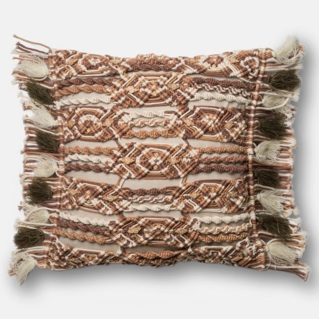 "Loloi Macrame Decor Pillow - 18x18"" in Brown/ Ivory"
