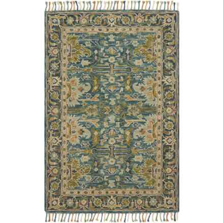 """Loloi Made in India Blue and Navy Area Rug - 5'x7'6"""", Hand-Hooked Wool in Blue/Navy - Closeouts"""