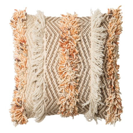 """Loloi Multi-Texture Decor Pillow - 18x18"""" in Rust / Ivory"""