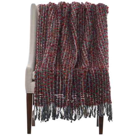 "Loloi Rosa Throw Blanket - 50x60"" in Red/Brown - Closeouts"