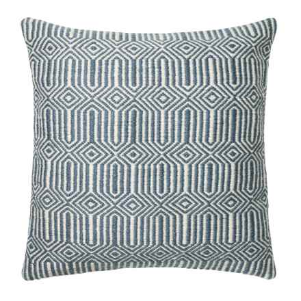 """Loloi Stripe Textured Indoor/Outdoor Throw Pillow - 22"""" in Blue/Ivory - Closeouts"""