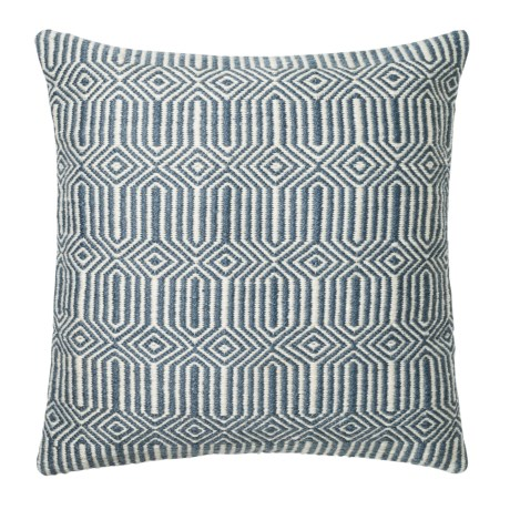 """Loloi Stripe Textured Indoor/Outdoor Throw Pillow - 22"""" in Blue/Ivory"""
