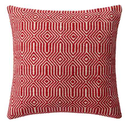 "Loloi Stripe Textured Indoor/Outdoor Throw Pillow - 22"" in Red/Ivory - Closeouts"