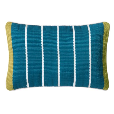 """Loloi Striped Indoor/Outdoor Throw Pillow - 13x21"""" in Blue/Green"""