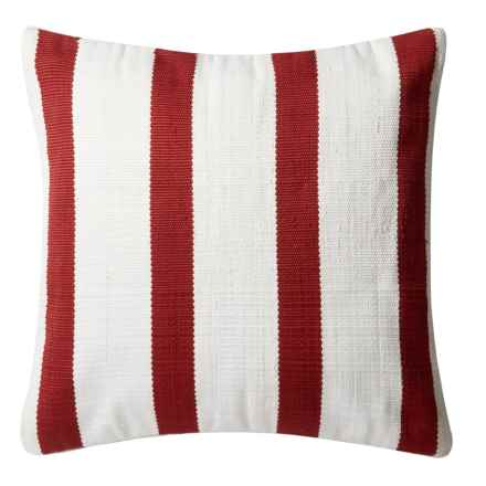"Loloi Striped Indoor/Outdoor Throw Pillow - 22"" in Red/Ivory - Closeouts"