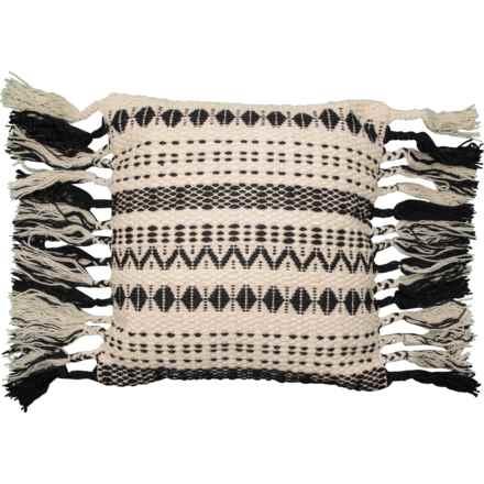 """Loloi Tassel Textured Throw Pillow - 22x22"""" in Black/White - Closeouts"""