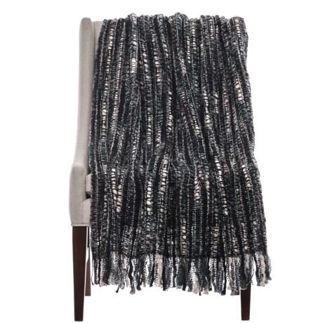 "Loloi Thea Throw Blanket - 50x60"" in Black/Ivory"