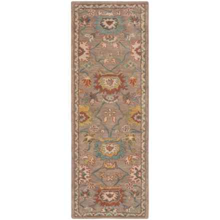 """Loloi Underwood Collection Floor Runner - 2'6""""x7'6"""", Hooked Wool in Taupe/Blue - Closeouts"""