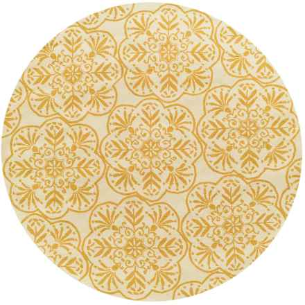 "Loloi Venice Beach Indoor/Outdoor Area Rug - 7'10"" Round in Ivory/Buttercup - Closeouts"
