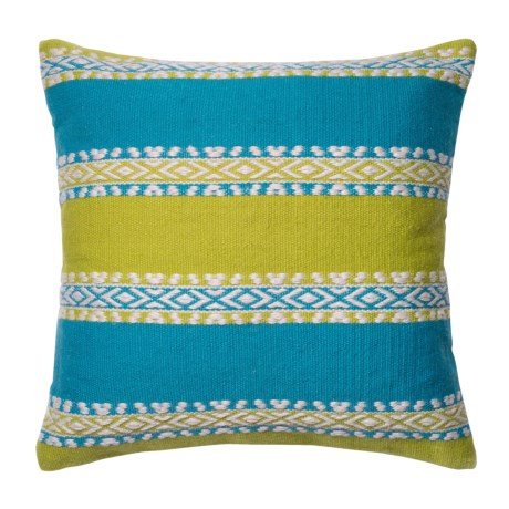 "Loloi Wide-Stripe Indoor/Outdoor Throw Pillow - 22"" in Green/Blue"