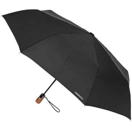"London Fog Auto-Open/Close Umbrella - Wood Handle, 42"" in Black - Closeouts"