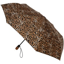 "London Fog Auto-Open/Close Umbrella - Wood Handle, 42"" in Leopard - Closeouts"