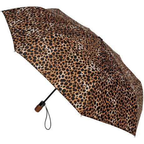 "London Fog Auto-Open/Close Umbrella - Wood Handle, 42"" in Leopard"