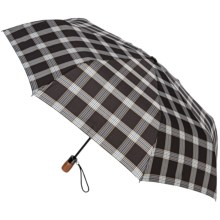 "London Fog Auto-Open/Close Umbrella - Wood Handle, 42"" in Signature Black - Closeouts"