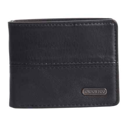 London Fog Bifold Wallet - Leather (For Men) in Black - Closeouts
