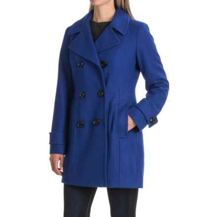 London Fog Button-Down Peacoat - Wool Blend (For Women) in Cobalt - Closeouts