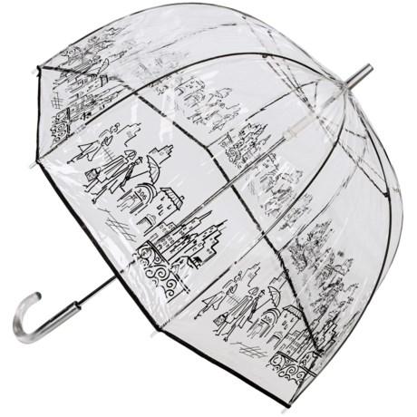 """London Fog Clear Bubble Stick Umbrella - 52"""" in City"""